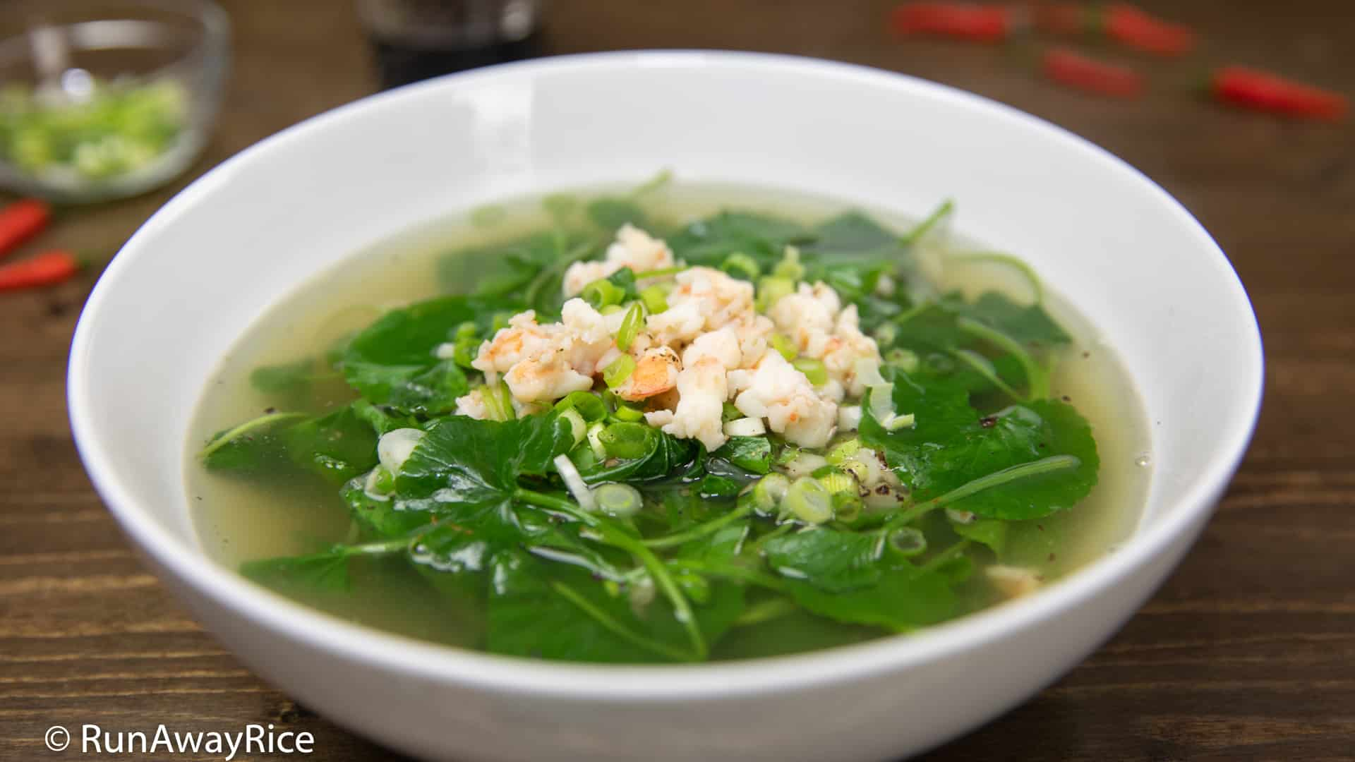 Pennywort Soup (Canh Rau Ma) - Light and Healthy Soup | recipe from runawayrice.com