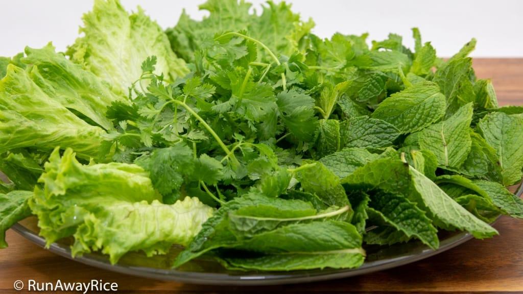 Shredded Pork Skin and Rice Vermicelli - Fresh Greens | recipe from runawayrice.com